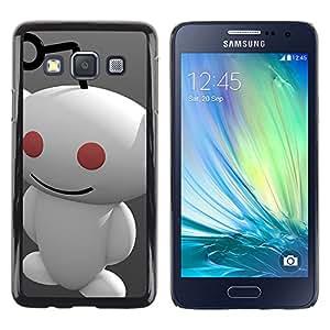 KLONGSHOP // Cubierta de piel con cierre a presión Shell trasero duro de goma Protección Caso - Redd1t extranjero - Samsung Galaxy A3 //