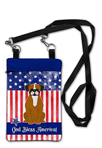 "Caroline's Treasures BB3111OBDY Patriotic USA Flashy Fawn Boxer Crossbody Bag Purse 6 1/2 X 9 1/2"" Multicolor"
