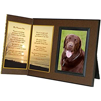 """Pet Lover Remembrance Gift, """"My Forever Pet"""" Poem, Memorial Pet Loss Picture Frame Keepsake and Sympathy Gift Package, Rich Dark Brown with Foil Accent"""