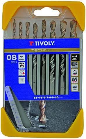 gama Technic TIVOLY 10864070001 Brocas para madera di/ámetro de 2, 3, 4, 5, 6, 7, 8, 10 mm Set de 8 Piezas