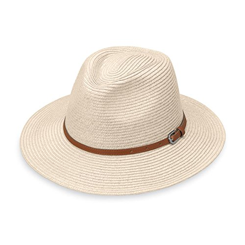 Wallaroo Women's Naples Sun Hat - Colorful Paper Braid Fedora - UPF50+, Ivory