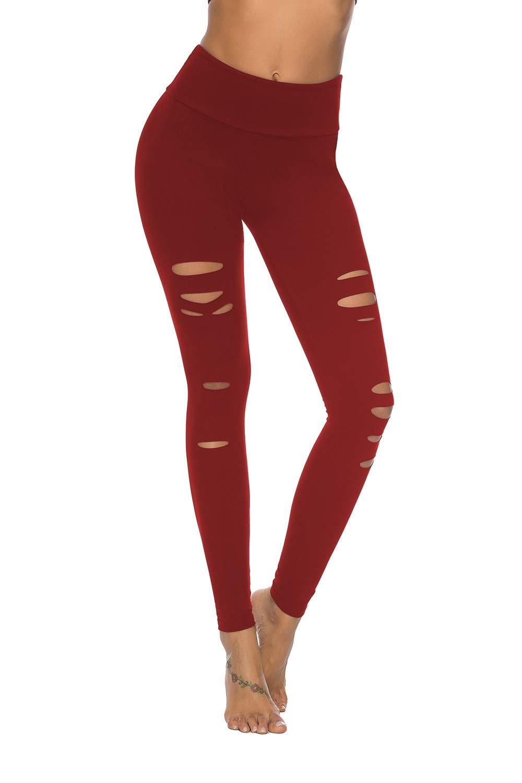 DIBAOLONG Womens High Waist Yoga Pants Cutout Ripped Tummy Control Workout Running Yoga Skinny Leggings Red XL by DIBAOLONG