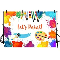 MEHOFOTO Let's Paint Birthday Party Photo Backdrop Props Painting Dress for a Mess Splatter Art Party Colorful Graffiti Wall Brush Photography Background Banner for Cake Table Supplies 7x5ft