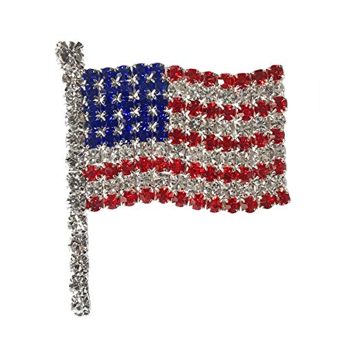 (SP Sophia Collection Patriotic Red, White and Blue Crystal Rhinestone American Flag Brooch Pin)