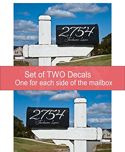 Elegant Mailbox Glossy Vinyl Decal Personalized with Address, Set of 2 Stickers, Basic 15
