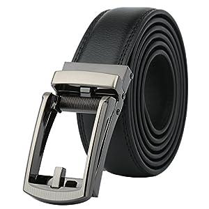 Men's Genuine Leather Ratchet Dress Belt with Automatic BuckleFits Waist Size 28''-44'' (Black Buckle)