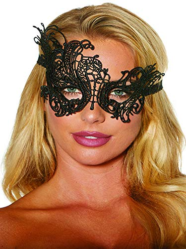 Shirley of Hollywood Embroidered Venice Lace Tie Back Mask