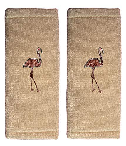 (ALLBrand Car Truck Crystal Bling Rhinestone Studded Seat Belt Cover Shoulder Pad Cushion - Pair (Flamingo/Beige))
