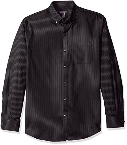 Heusen Shirt Free Wrinkle Van (Van Heusen Men's Wrinkle Free Twill Long Sleeve Button Down Shirt, Black, XX-Large)