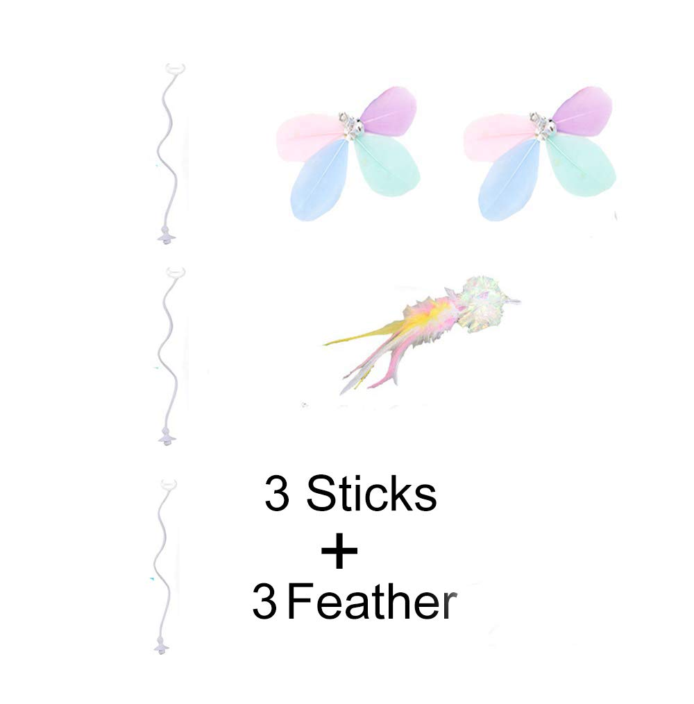Yvelife Robotic Interactive Cat Feather Toys for Indoor Cats,Automatic Moving Cat Toys with Large Capacity Battery,Cat Mice//Ball//Wand Toys for Kitten//Cats