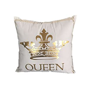 FASHIONDAVID Gold Queen Crown Bronzing Flannelette Square Decorative White Throw Pillow Case Home Pillowcases Cushion Cover Gold King Queen Crown 18 X 18 Inches
