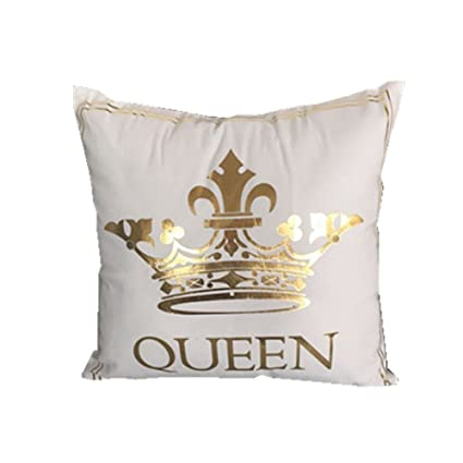 Amazon FASHIONDAVID Gold Queen Crown Bronzing Flannelette Fascinating King And Queen Decorative Pillows