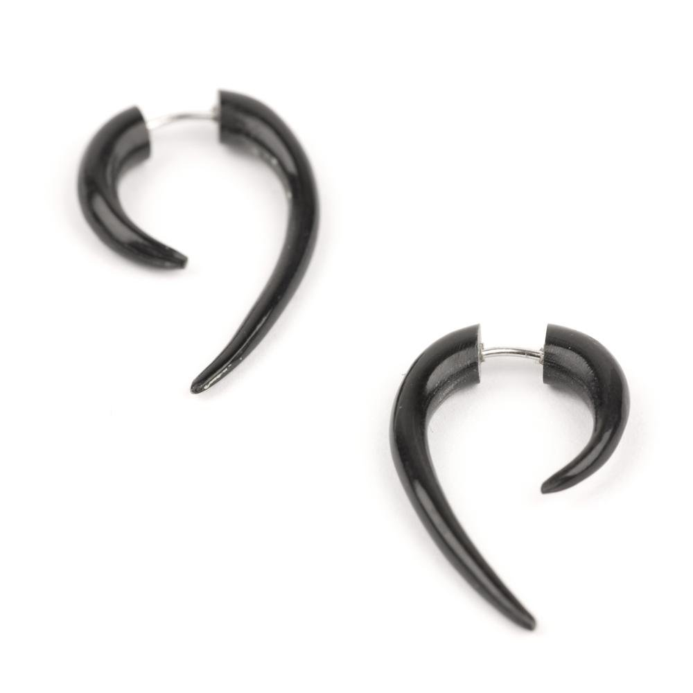 81stgeneration Women's Men's Black Horn Fake Taper Stretcher Spiral Round Organic Tribal Earrings