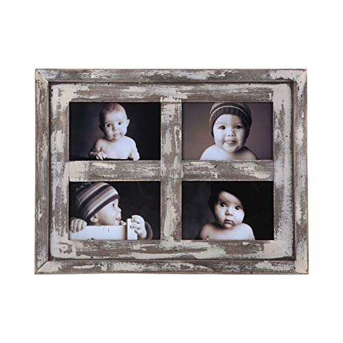 Faunlife Collage Picture Frames Made of Rustic Distressed Weathered Reclaimed Wood - Display Four 4x6 Pictures, White ()
