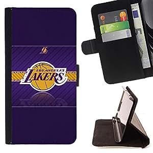 - LA Laker Basketball - - Prima caja de la PU billetera de cuero con ranuras para tarjetas, efectivo desmontable correa para l Funny HouseFOR Sony Xperia m55w Z3 Compact Mini