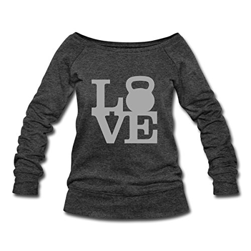 Love Kettlebells Women's Wideneck Sweatshirt by Spreadshirt, XXL, heather black