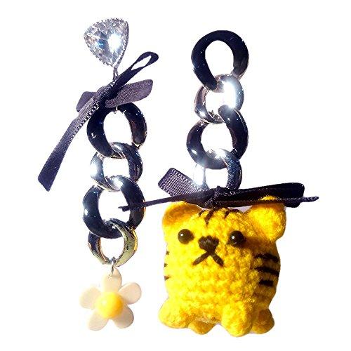 Sansukjai Earring Cute Tiger Figurines Amigurumi Crochet Fashion Earring, Handmade Jewelry, Christmas Gift (Tuto Halloween)