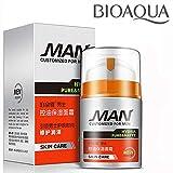 BIOAQUA Men Сlean Pores Skin Face Cream Controls Sebum Hydro-lipid Skin Oil Balance Nourishes Feeling of Freshness 50g