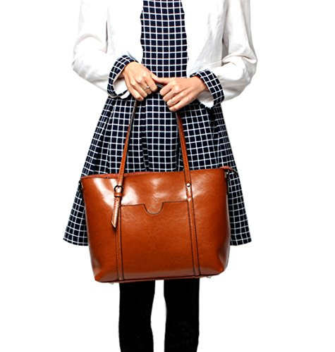 Bags Ladies Handbags Leather SAIERLONG Designer Black Shoulder Genuine Womens Brown Tote BxAwHqUzd
