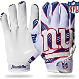 Franklin Sports New York Giants Youth NFL Football Receiver Gloves – Receiver Gloves For Kids – NFL Team Logos and Silicone Palm – Youth M/L Pair