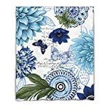 LiFei Business Blue Butterfly Floral Gaming mouse Custom shower curtain 60''(W) x 72''(H) (12 Holes)