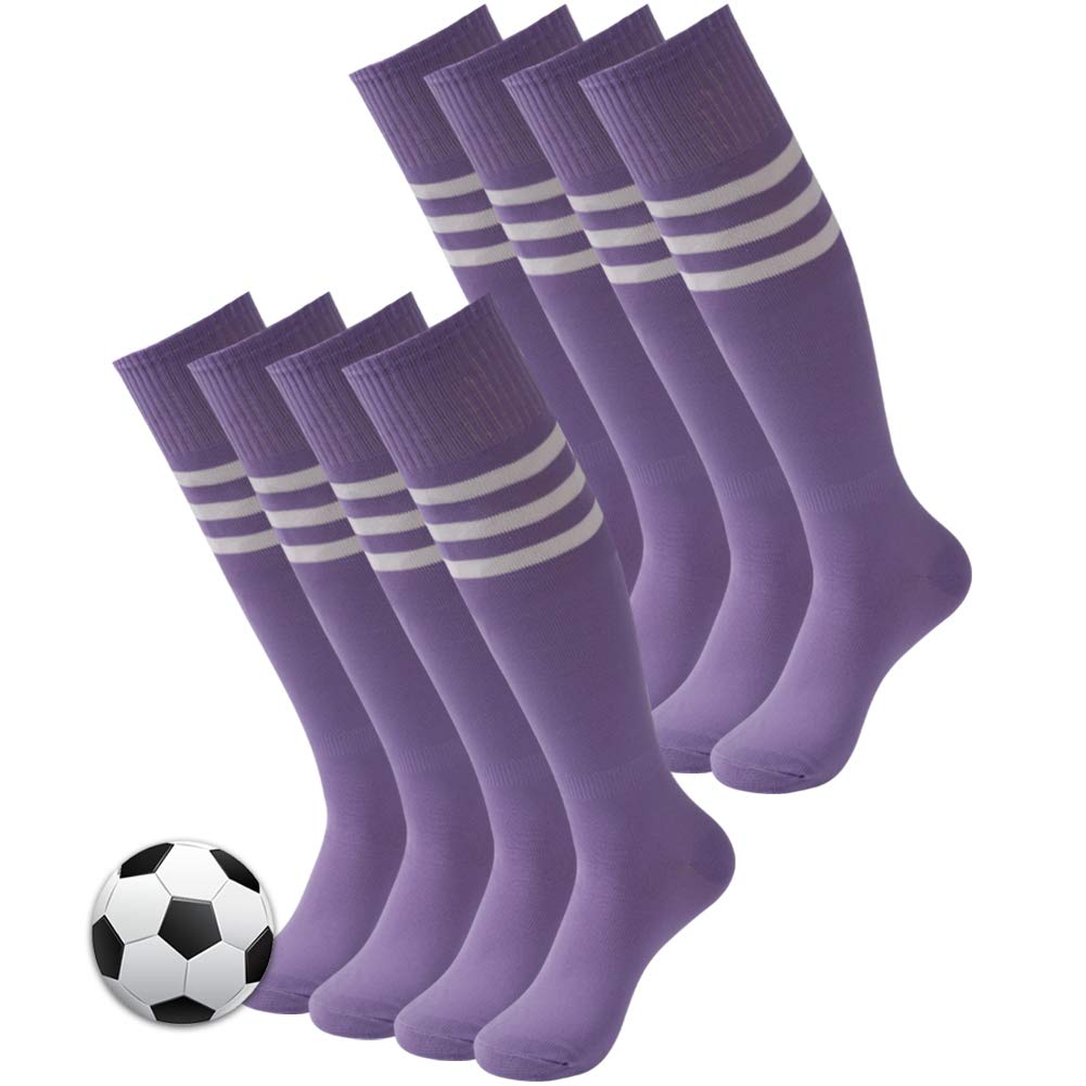 3street Knee High Socks, Women's Girls Stripe Tube Dresses Over The Knee Thigh High Stockings School Cosplay Socks Football Soccer Socks Back to School Gift Medium Purple 8 Pairs by Three street
