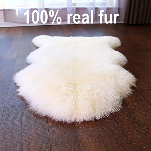 HUAHOO White Real Sheepskin Rug Single Pelt Natural Fur Blanket Carpet -2 x 3 ft Genuine Sheepskin Rug for Kids Bedroom Sofa Chairs Pets Dogs Mat