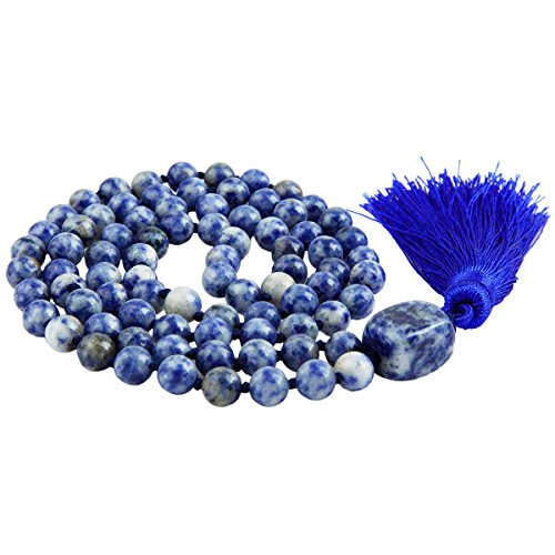 Sodalite Beaded Necklace (SUNYIK Sodalite Wrap Bracelet,Beaded Necklace Tibetan Buddhist Prayer Beads)