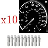 Ancdream 10Pcs 12v 1.2w T5 5mm Super Bright White LED Wedge Car Dashboard Speedo Bulb 286