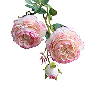 Adarl European Artificial Rose Flower Fake Silk Flower 3 Heads Rose Flower Bouquet for Home Office Decor Party Festival Wedding Decoration 4