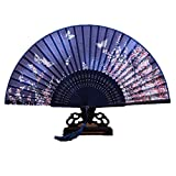 Generic 265D Lee Goal White Butterfly Pink Flowers Pattern Lace Bamboo Handheld Folding Fans For Girls Women, Blue, One Size