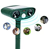Wikoo Animal Repellent Ultrasonic Outdoor Animal Repeller - Dog Cat Raccoon Repellent Skunk Repellent Mice Rats Repellent - Animal Deterrent Device Solar Powered - Motion Sensor, Alarm, LED Lights