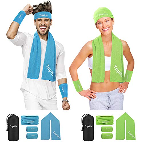 Cooling Towel Headbands Neck Wrap Wristbands Set(Green) for Man and Women, Microfiber Towel for All Activities. Keep Cool Scarf for Workout, Gym, Yoga,Travel,Golf with UV Resistence Function