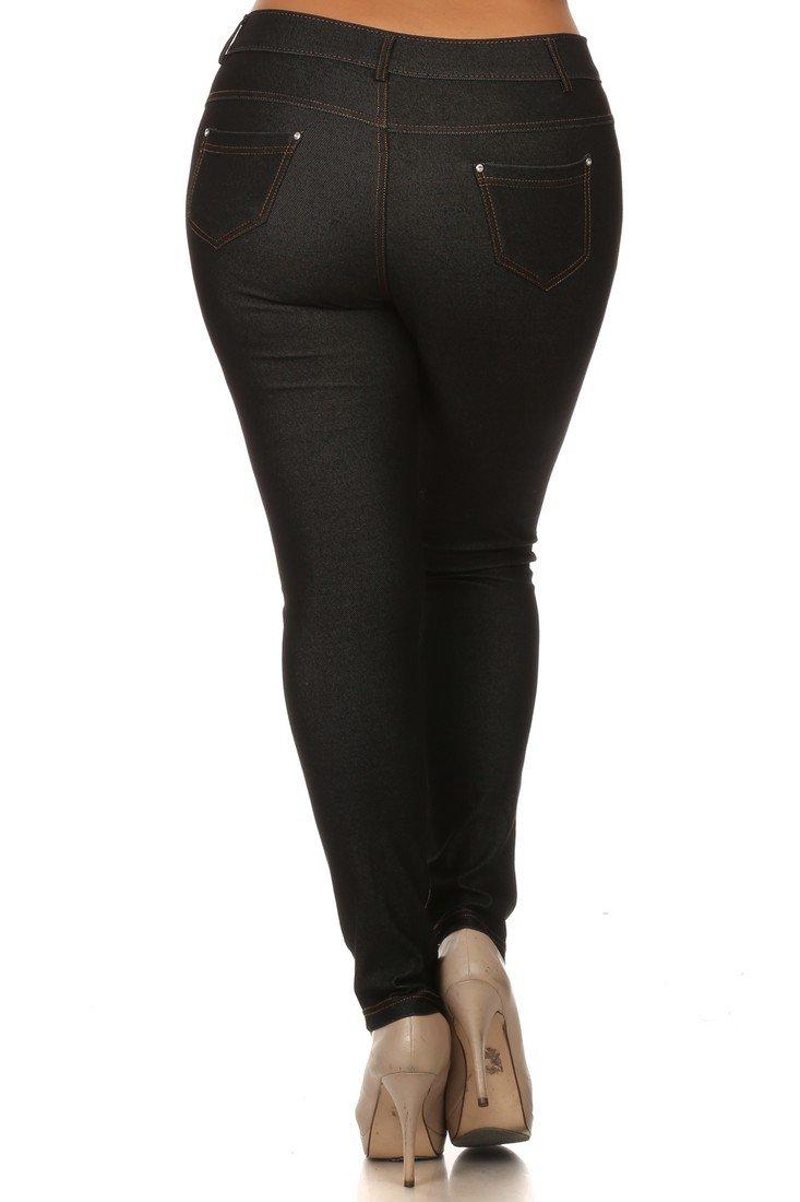 ICONOFLASH Women's Jeggings - Pull On Slimming Cotton Jean Like Leggings (Black, 2XL) by ICONOFLASH (Image #3)