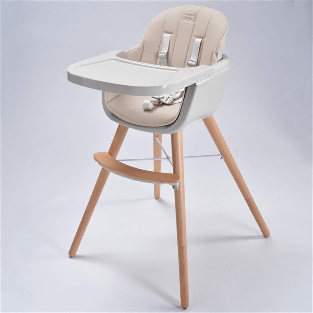 クッション、幼児/幼児/赤ん坊のための調節可能な供給の高い椅子が付いている1つの転換可能で現代的なハイチェアの解決に付き子供の木の高い椅子3つの世話をするよい助手 赤ちゃんを転倒から守る (色 : Champagne)  Champagne B07SF536Y2