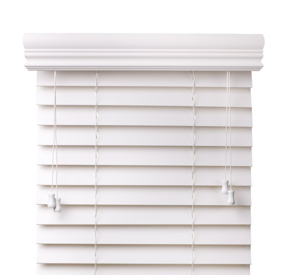 Arlo Blinds, Snow White 2-Inches Faux Wood Vinyl Horizontal Blind - Size: 72''W x 60''H