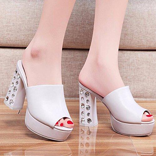 Tacón de Diamantes Alto Blanco Verano Sexy en Tacones JRFBA Bruto Sandalias Zapatos y vRxawxqF