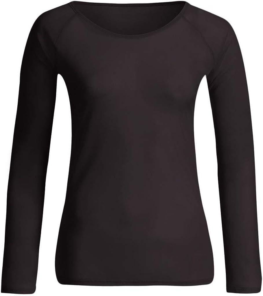 Camicie Maglietta Donna Blusa Moda Felpe Top Donna Trasparente Maglie Manica Lunga Intima Ragazza Eleganti Canotta Tunica Camicia Donne Ragazze Magliette T-Shirt Vestiti Abbigliamento