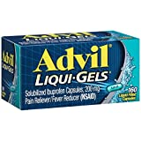 Advil Liqui-Gels Pain Reliever/Fever Reducer Liquid Filled Capsule, 200mg Ibuprofen, Temporary Pain Relief (160 Count)