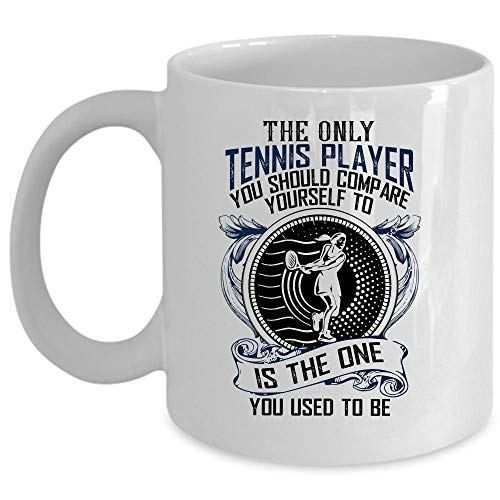 Playing Tennis Coffee Mug, Tennis Player Cup (Coffee Mug 11 Oz - WHITE)