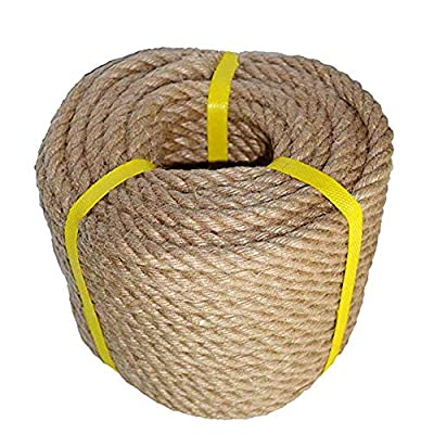 100% Natural Strong Jute Rope 49 Feet 1/2 inch Ply Hemp Rope All Purpose Cord for Crafts, Sporting, Landscaping & Décor. Ideal for Nautical Knots, Wedding décor, Hanging Flower Baskets, Gardening an …