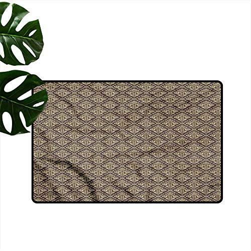 Printed Door mat Oriental Antique Curly Damask Antifouling W35 - Gardenia Garden Antique