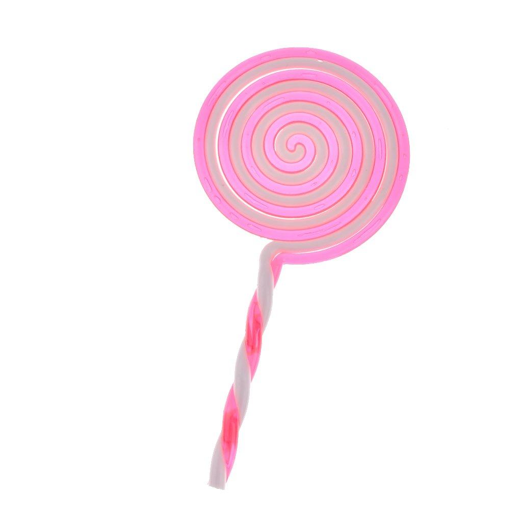Lollipop Doux Sucette Plastique Prop Accessoire Fantaisie pour Douche de Bébé - Rose, Taille Unique