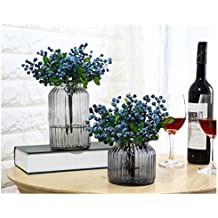 ZJCilected 5 Pcs Artificial Mini Berry Buleberries Fruit Fake Silk Flowers Home Wedding Party Decoration, Blue