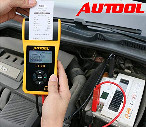 AUTOOL BT660 CCA 100-3000 12V/24V Battery Load Tester, Car Cranking and Charging System Analyzer Scan Tool with Printer for Heavy Duty Trucks, Cars, Motorcycles, Boats by AUTOOL (Image #3)