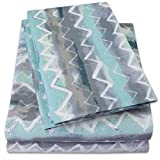 ocean sheets - 1500 Supreme Collection Extra Soft Summerset Ocean Vibe Chevron Pattern Sheet Set, Twin- Luxury Bed Sheets Set With Deep Pocket Wrinkle Free Hypoallergenic Bedding, Trending Printed Pattern, Twin