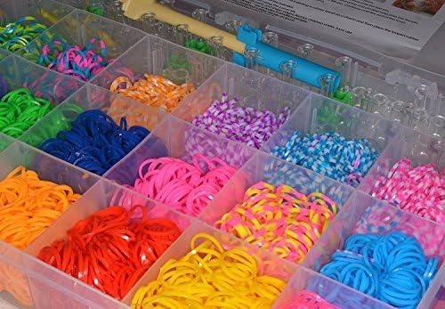 ATEAMART loom bands caja de gomas para hacer pulseras con 4200pcs de gran surtido de colores, 170 uniones,5 agujas, 1 plantilla: Amazon.es: Juguetes y juegos