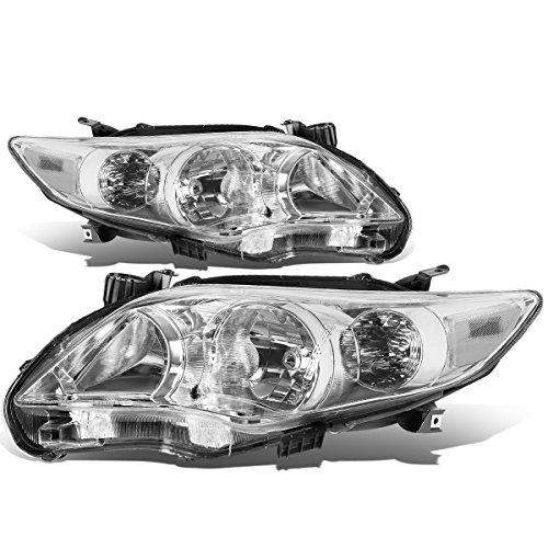 For Corolla Sedan Pair of Chrome Housing Clear Corner Headlight Kit
