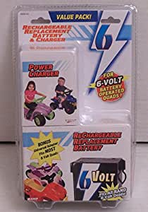 Replacement Battery and Charger for Most 6 Volt Ride-on Quads