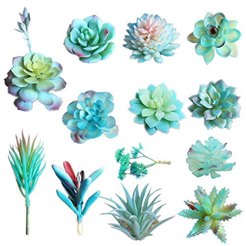 13PCS Assorted Blue Artificial Succulent Plants Faux Fake Succulents Textured Cactus Stems Cacti Aloe Succulent In Different Artificial Hanging String of Pearls Plant For Wedding For Home Decor